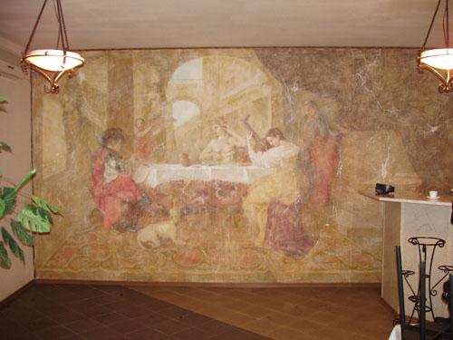 оформление интерьера, интерьер гостиной, интерьер офиса, роспись стен фресками