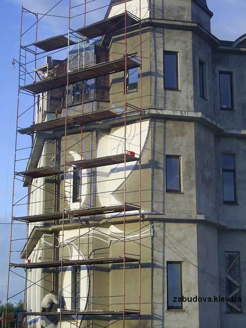 Строительство коттеджей. Фасадные работы.